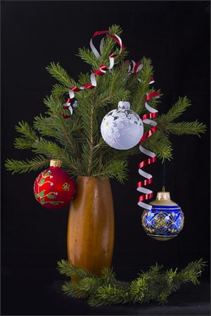 christmas tree branches in vase