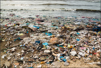 Polluted beach in a fishing village in Vietnam